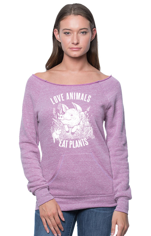 Love Animals Women's Raglan by Grape Cat Vegan Clothing Brand
