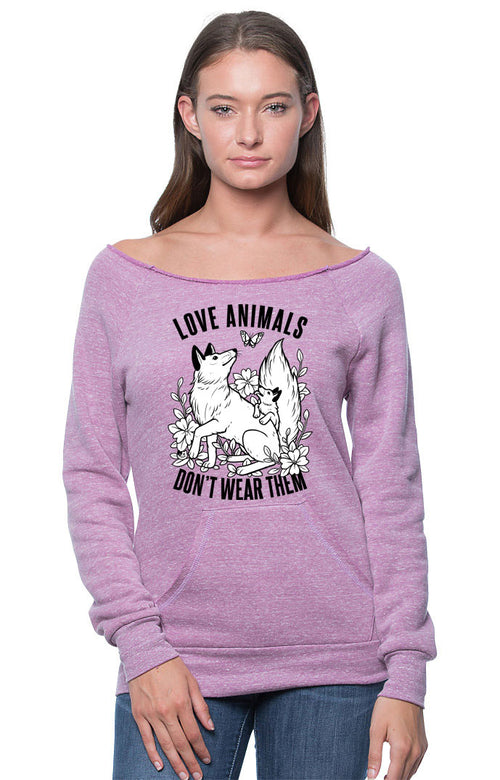 Love Animals, Don't Wear Them Sweatshirt by Grape Cat Vegan Clothing Brand