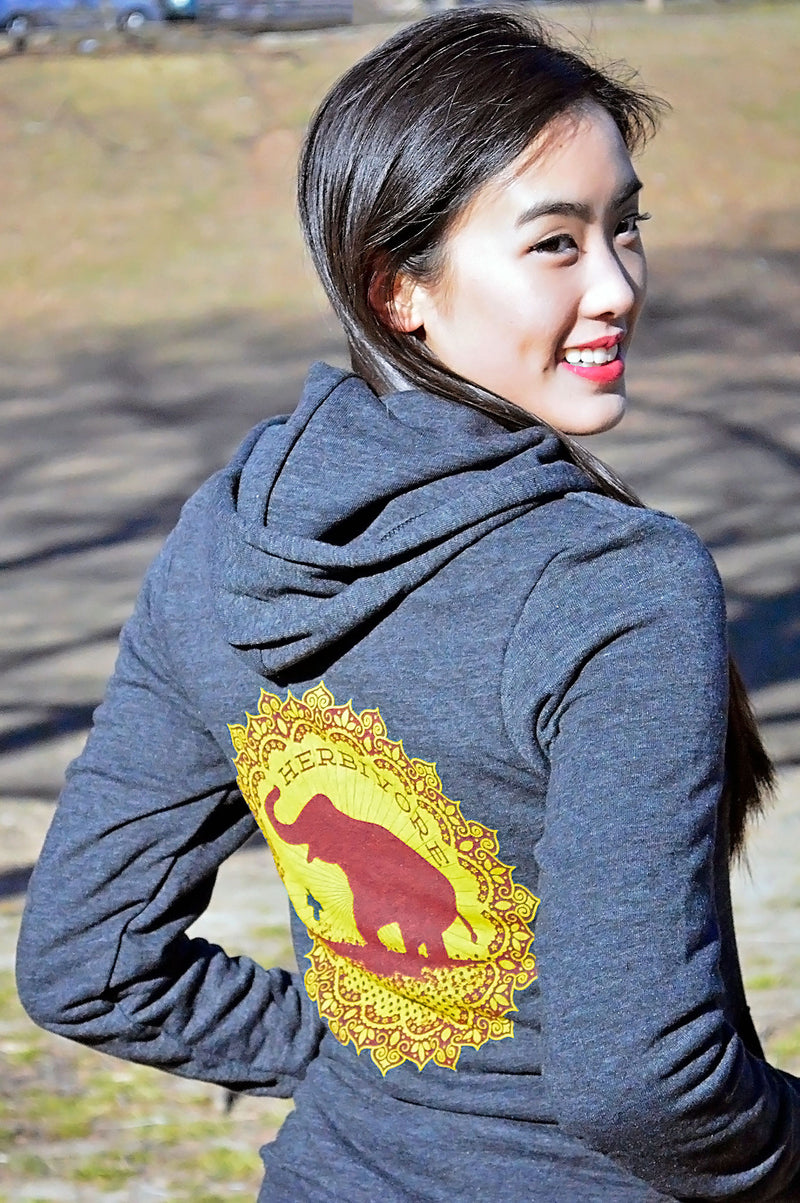 Good Luck Elephant Hoodie by Grape Cat Vegan Clothing Brand