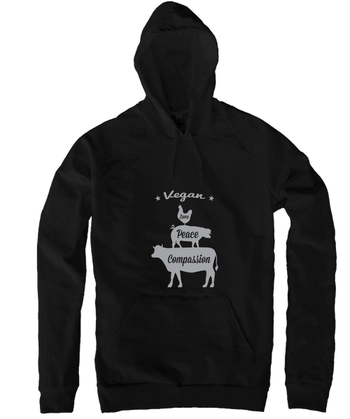 Vegan: Love, Peace, Compassion Hoodie in Black by Grape Cat Vegan Clothing Brand