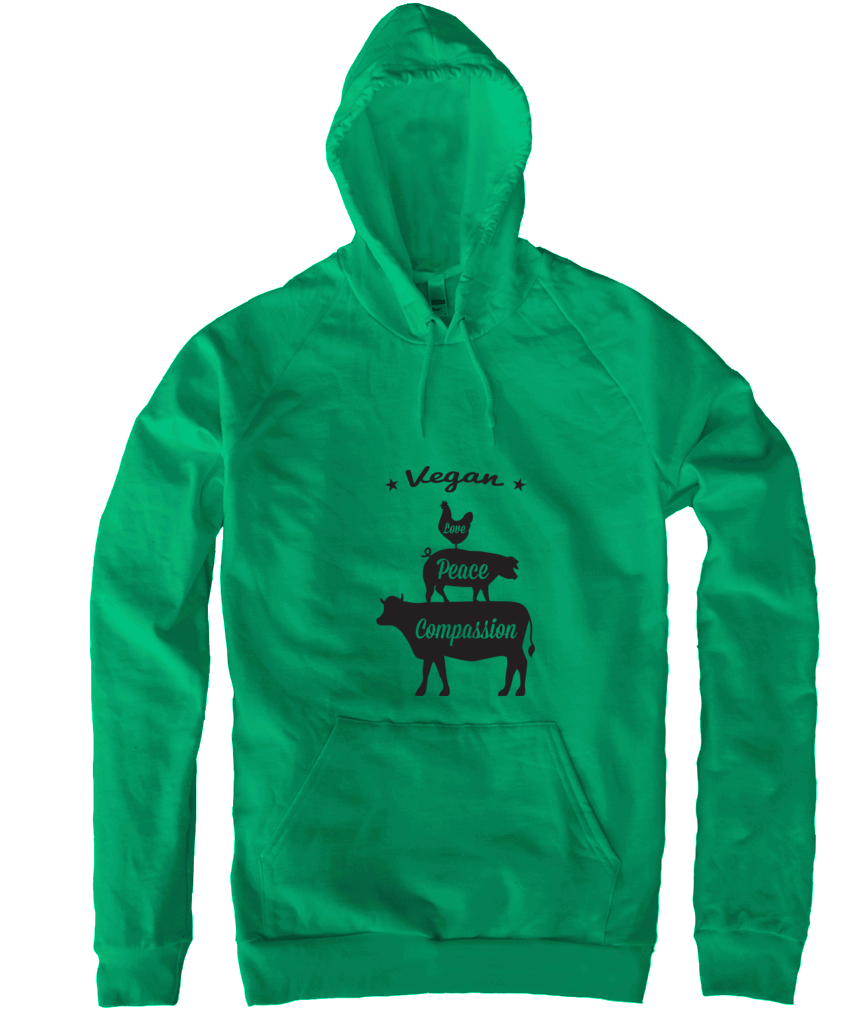 Vegan: Love, Peace, Compassion Hoodie in Kelly Green - Grape Cat