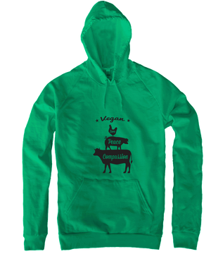 Vegan: Love, Peace, Compassion Hoodie in Kelly Green, Hoodie, Grape Cat - Vegan Grape Cat