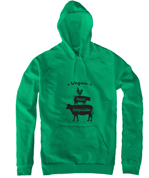 Vegan: Love, Peace, Compassion Hoodie in Kelly Green by Grape Cat Vegan Clothing Brand