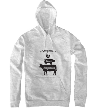 Vegan: Love, Peace, Compassion Hoodie in Heather Grey - Grape Cat