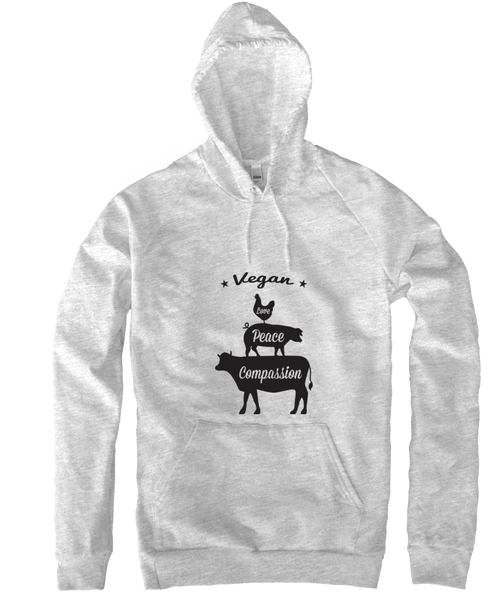Vegan: Love, Peace, Compassion Hoodie in Heather Grey by Grape Cat Vegan Clothing Brand