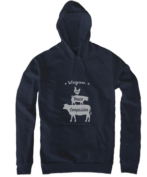 Vegan: Love, Peace, Compassion Hoodie in Navy - Grape Cat
