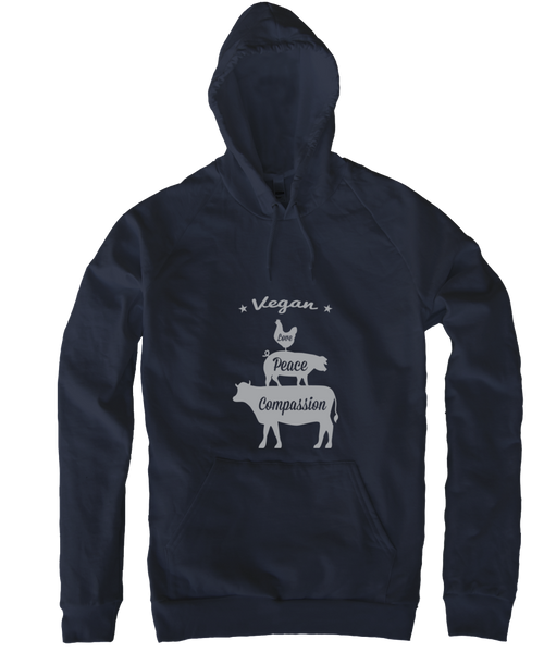 Vegan: Love, Peace, Compassion Hoodie in Navy by Grape Cat Vegan Clothing Brand