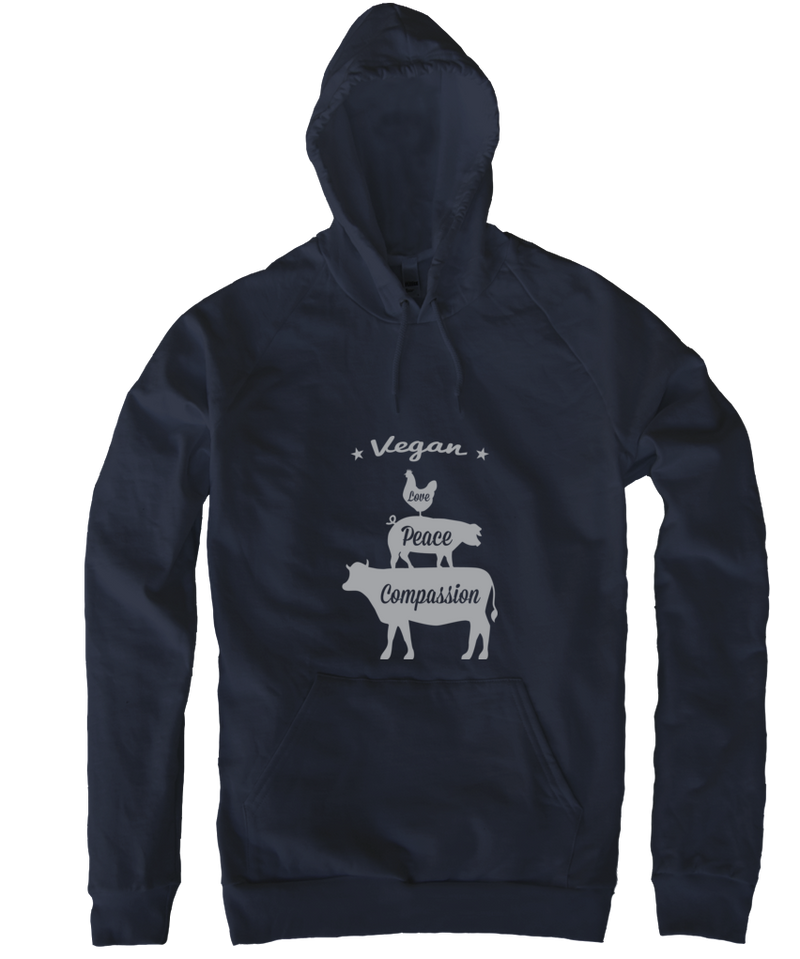 Vegan: Love, Peace, Compassion Hoodie in Navy, Hoodie, Grape Cat - Vegan Grape Cat