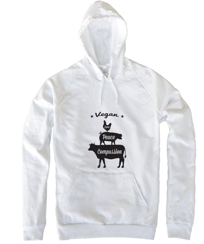 Vegan: Love, Peace, Compassion Hoodie in White by Grape Cat Vegan Clothing Brand