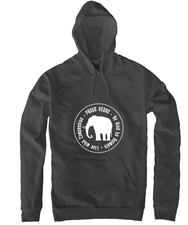Proud Vegan Hoodie in Asphalt by Grape Cat Vegan Clothing Brand