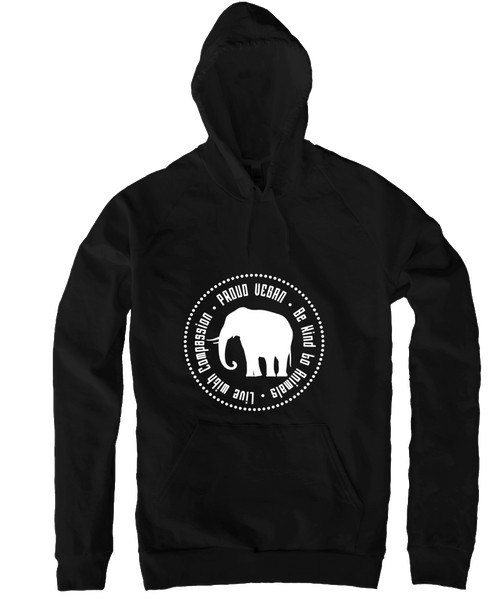 Proud Vegan Hoodie in Black by Grape Cat Vegan Clothing Brand