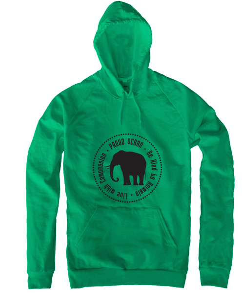 Proud Vegan Hoodie in Kelly Green by Grape Cat Vegan Clothing Brand