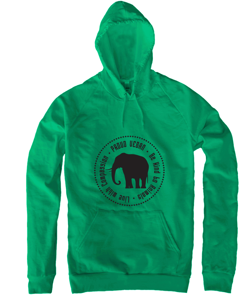Proud Vegan Hoodie in Kelly Green - Grape Cat