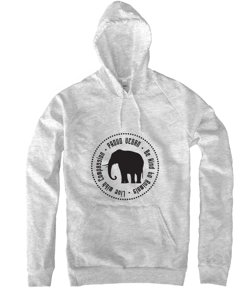 Proud Vegan Hoodie in Heather Grey - Grape Cat