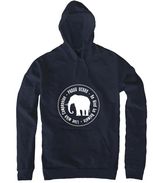 Proud Vegan Hoodie in Navy by Grape Cat Vegan Clothing Brand