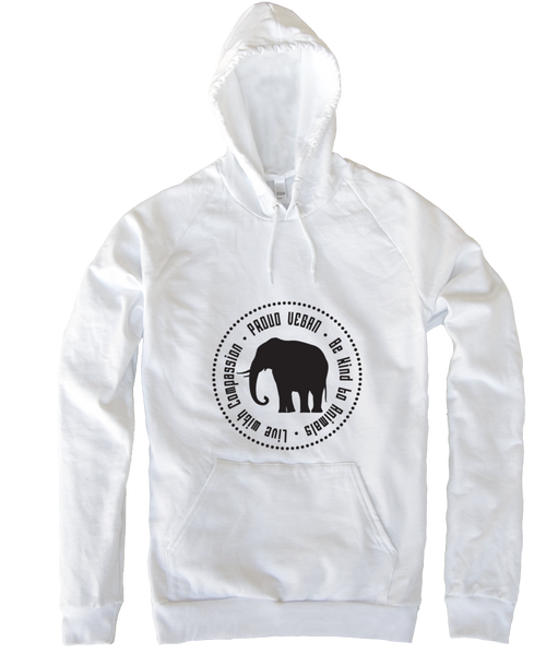 Proud Vegan Hoodie in White by Grape Cat Vegan Clothing Brand