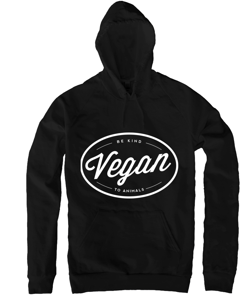 Vegan Hoodie in Black - Grape Cat