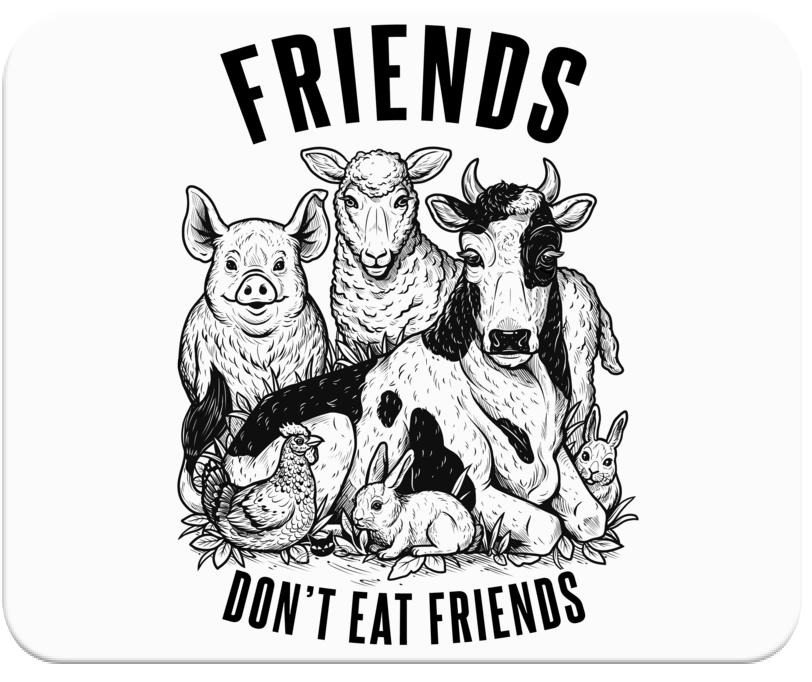 Friends Don't Eat Friends Mousepad - Grape Cat