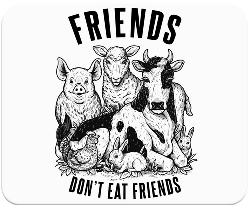 Friends Don't Eat Friends Mousepad by Grape Cat Vegan Clothing Brand
