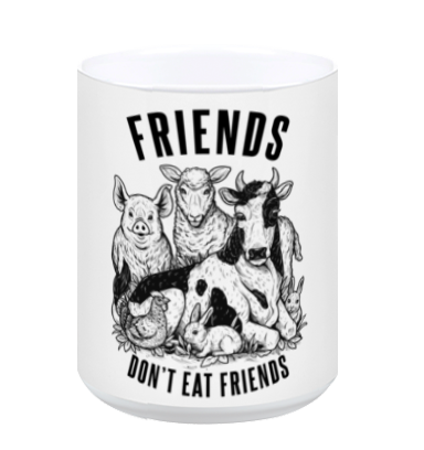 Friends Don't Eat Friends White Mug by Grape Cat Vegan Clothing Brand