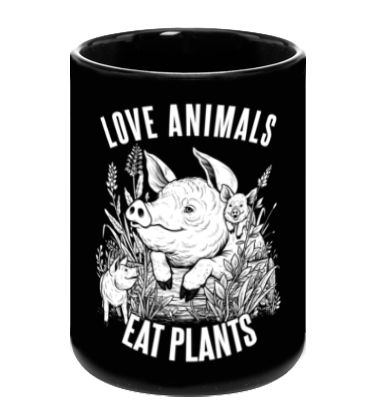 Love Animals Black Mug - Grape Cat