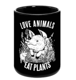 Love Animals Black Mug