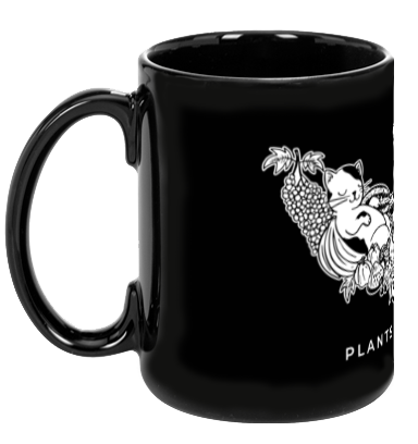 Plants, Wine, Cats, Black Mug - Grape Cat