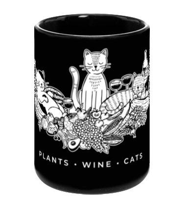 Plants, Wine, Cats, Black Mug by Grape Cat Vegan Clothing Brand