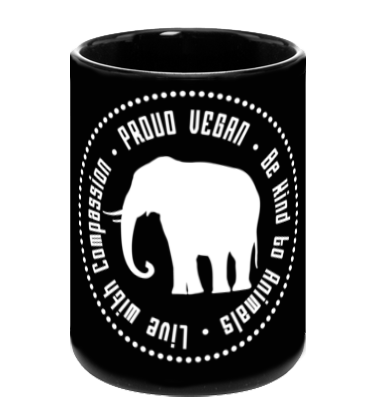 Proud Vegan Coffee Mug in Black - Grape Cat