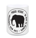 Proud Vegan Coffee Mug in White by Grape Cat Vegan Clothing Brand