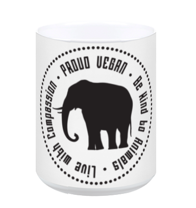 Proud Vegan Coffee Mug in White - Grape Cat