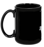 Vegan: Love, Peace, Compassion Coffee Mug in Black - Grape Cat - 2