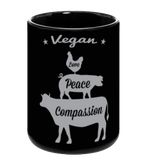 Vegan: Love, Peace, Compassion Coffee Mug in Black by Grape Cat Vegan Clothing Brand