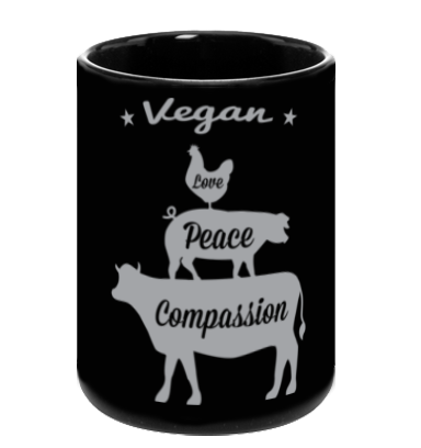 Vegan: Love, Peace, Compassion Coffee Mug in Black - Grape Cat Vegan Clothing Brand