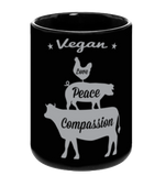 Vegan: Love, Peace, Compassion Coffee Mug in Black - Grape Cat - 1