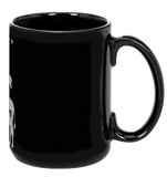 Vegan: Love, Peace, Compassion Coffee Mug in Black - Grape Cat - 3