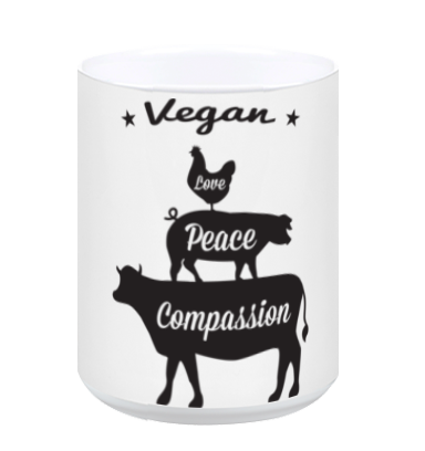 Vegan: Love, Peace, Compassion Coffee Mug in White, Mug, Grape Cat - Vegan Grape Cat