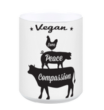 Vegan: Love, Peace, Compassion Coffee Mug in White - Grape Cat - 1