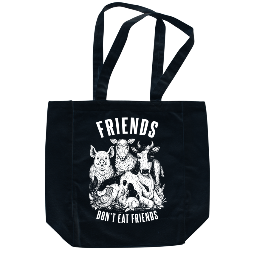 Friends Don't Eat Friends Black Tote - Grape Cat