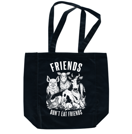 Friends Don't Eat Friends Black Tote by Grape Cat Vegan Clothing Brand