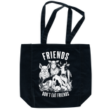 Friends Don't Eat Friends Black Tote, Totebag, Grape Cat - Vegan Grape Cat