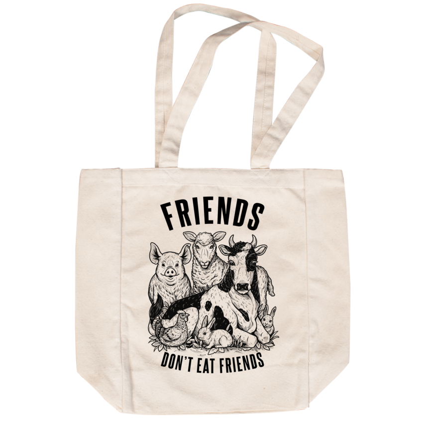 Friends Don't Eat Friends Creme Tote - Grape Cat