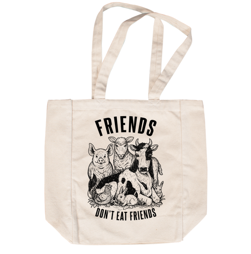 Friends Don't Eat Friends Creme Tote by Grape Cat Vegan Clothing Brand