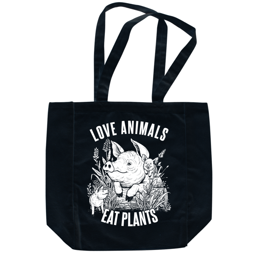 Love Animals Black Tote - Grape Cat