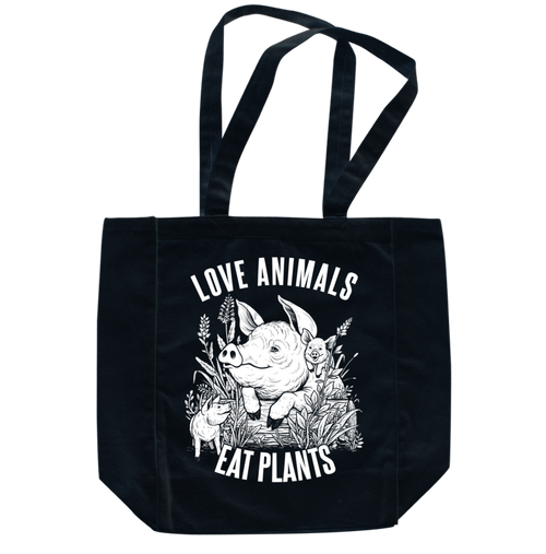 Love Animals Black Tote by Grape Cat Vegan Clothing Brand