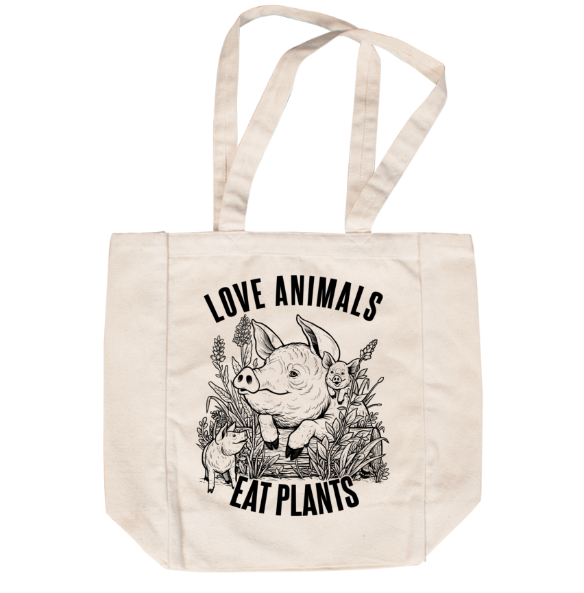 Love Animals Creme Tote - Grape Cat