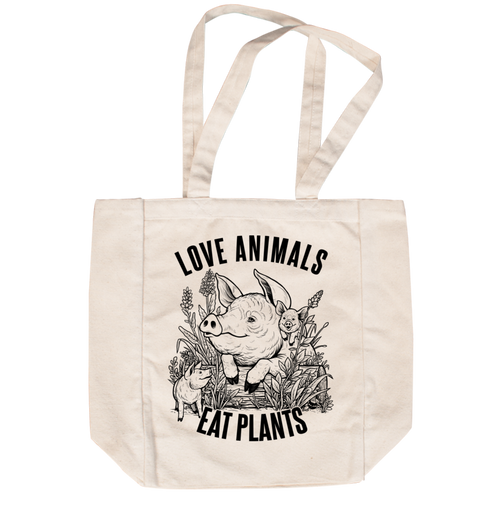 Love Animals Creme Tote by Grape Cat Vegan Clothing Brand