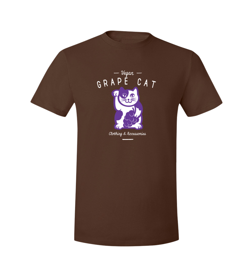 Grape Cat T-Shirt Black Logo - Grape Cat Vegan Clothing Brand