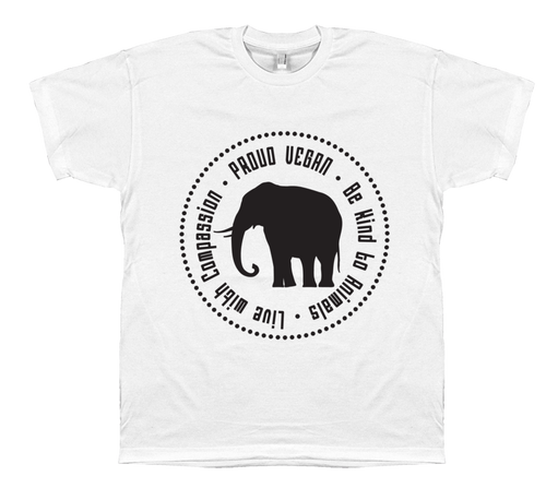 Proud Vegan T-Shirt in White by Grape Cat Vegan Clothing Brand