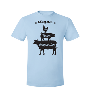 Vegan: Love, Peace, Compassion T-Shirt - Grape Cat